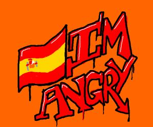 Spanish flag w/ angry grafitti