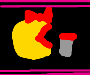 Mrs. Pacman wears lipstick
