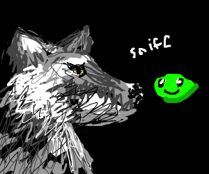 Wolf sniffs a green blob with feelings