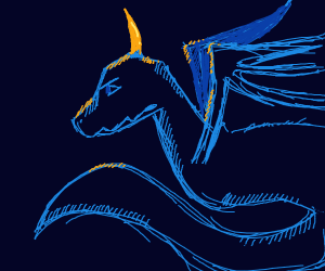 blue dragon with one yellow horn