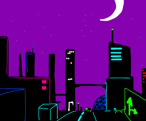 A cool futuristic city in neon colors