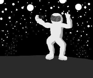 An astronaut taking a selfie