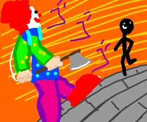 A clown with an axe confronts a foe.