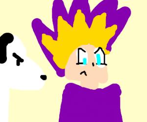 Yugi-Oh hero stalked by Joe Cool (Snoopy)