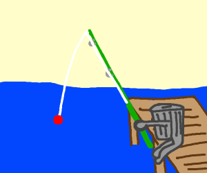 Garbage can goes fishing