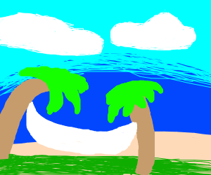 Hammock on a beach.