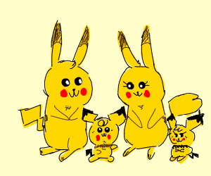 Pikachu family (2 Pikachu's and 2 Pichu's)