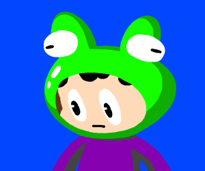 boy with frog hat
