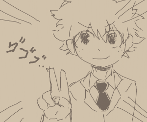Deku powerfully does a peace sign