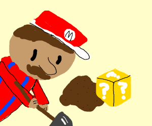 Mario finds burried mystery block