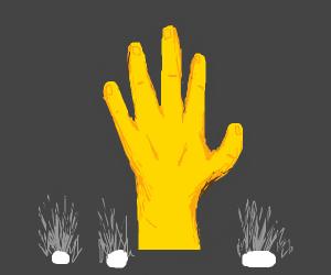 Golden hand lit up with floor lamps
