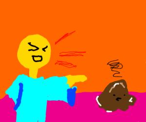 man making fun of a brown blob
