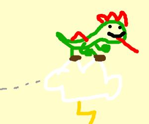 Yoshi rides a lightning cloud