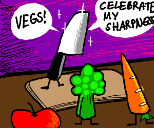 Kitchen knife celebrates sharpness!