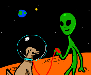 A dog in space with alien friend