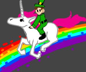 Leprechaun on a unicorn