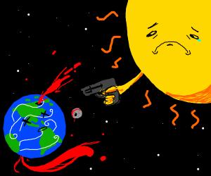 sun sad about killing earth with gun