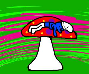 smurf sleeping on a mushroom
