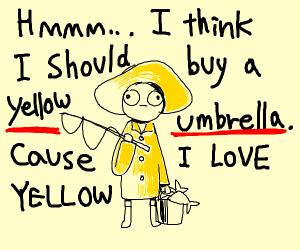 Fisherman wants an yellow umbrella