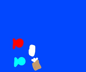 red and blue fish examining a tissue