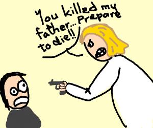 Protagonist gets revenge for his dad's death