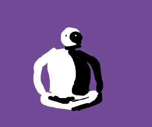 yin-yan man with purple background