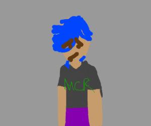 Blue haired emo wearing an mcr shirt
