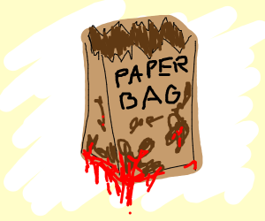 paper bag leaking the blood of its enemies