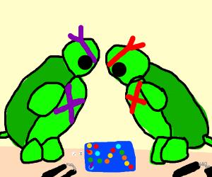 ninja turtles playing a game together