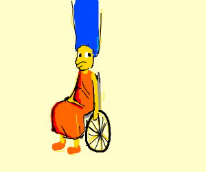 Marge Simpson in a wheelchair