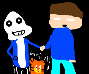 Sans X Herobrine With Their Child Garfield Drawception