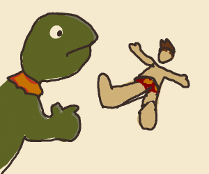 kermit beats someone up at the beach
