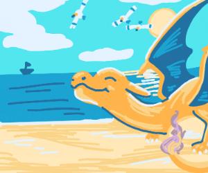 Charizard enjoy the sunny beach