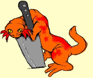 Axolotl has a Knife