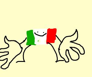 Italian flag man has huge hands