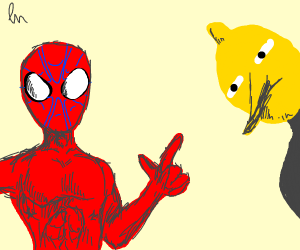 Spiderman points to Lemongrab