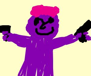 Purple man duel weilding guns
