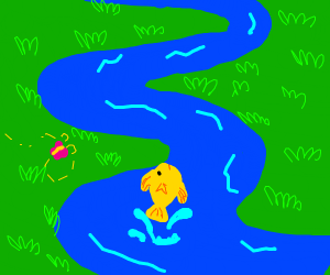 river with a yellow fish in it