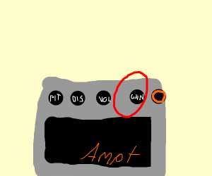 Gain knob on amp