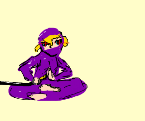 Purple samurai girl is at peace and ready