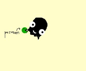 tiny green pacman eating darker inky