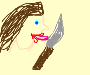 Licking a knife