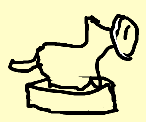 Dog with cream pie face on amiibo pedestal