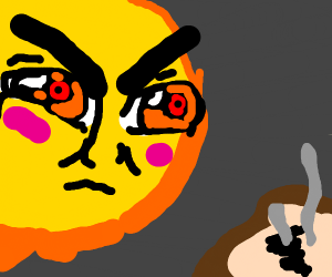 An angry sun burning some toast