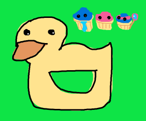 a duck draception d and a cupcakefamily