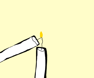 lighting candle with a candle
