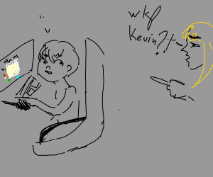 child caught playing drawception