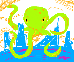 Giant octopus tears up city