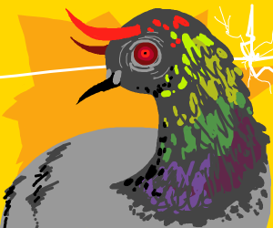 Demon pigeon is angry