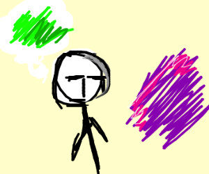 Man likes green but must put up with purple
